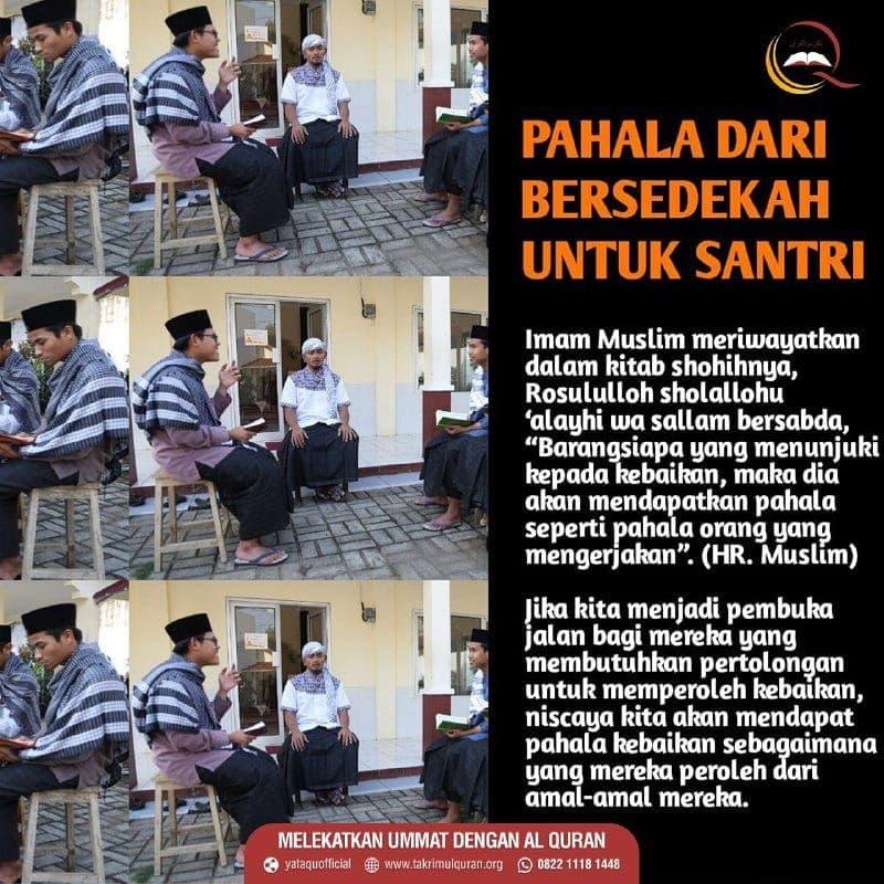 PAHALA DARI BERSEDEKAH UNTUK SANTRI Takrimul Quran
